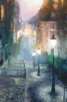 Art painting by Andrew Kriochenko.you can almost feel the coolness and mist on the air in this photo. Watercolor Illustration, Watercolor Art, Paintings I Love, Vintage Paintings, Naive Art, Dream Art, City Art, Pictures To Paint, France