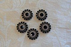 Set of 5 Black Acrylic Rhinestone Flat Back Buttons by bagladyofsc, $5.00