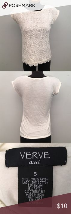 Lace Top Cream color. Good conditions. Semi sheer on back. Verve ami Tops