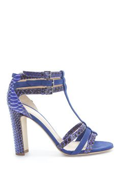 Blue water snake and suede caladium sandal by CHLOE GOSSELIN for Preorder on Moda Operandi