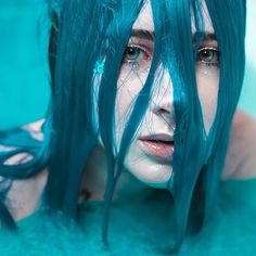 @likaloony takes a mesmerizing dip in our Cyan Sky #lunartides #bluehair #turquoisehair Dyed Hair Blue, Turquoise Hair, Hair Art, Halloween Face Makeup, Hair Color, Hairstyle, Instagram, Artwork, Photography