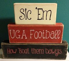Uga Georgia Bulldogs Football Go Dawgs Hand Crafted Hand Painted Primitive Block Sayings Summer Beach Home