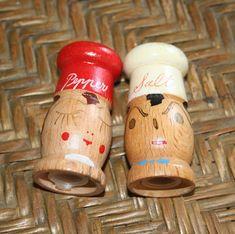 Vintage Wood Salt and Pepper Shakers  Mr and Mrs. Chef Salt