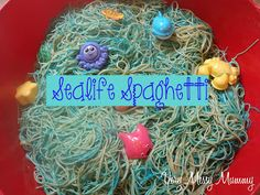 Sealife Spaghetti – coloured spaghetti with sealife animals for extra fun Sealife Spaghetti – coloured spaghetti with sealife animals for extra fun Eyfs Activities, Infant Activities, Activities For Kids, Snail And The Whale, Education And Literacy, Messy Play, Body Adornment, Classroom