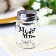 Printed Mini Mason Jars by Beau-coup, because you never know when you'll need personalized mini mason jars.