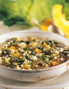 Savoy cabbage soup with pumpkin and barley – All recipes from A to Z – Natural cuisine – Recipes, Menus, … Light Recipes, Wine Recipes, Soup Recipes, Vegetarian Recipes, Healthy Recipes, Confort Food, Veg Dishes, Italy Food, Best Italian Recipes