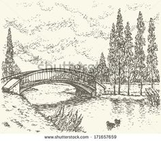 sketch of park bridge over lake