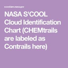 NASA S'COOL Cloud Identification Chart (CHEMtrails are labeled as Contrails here)