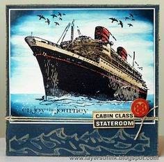 Layers of ink: Voyage on the seven seas, made for Simon Says Stamp Monday Challenge, Nautical Nonsense challenge. With Tim Holtz Stampers Anonymous Stamps, Distress Inks, and Sizzix embossing folder.