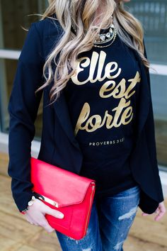 Gold Elle est Forte/Proverbs 31 Tshirt from SHE IS CLOTHING www.sheisclothing.etsy.com She Is Clothed, Proverbs 31, Stella Dot, Clothes Horse, Beautiful Outfits, Style Me, Personal Style, Faith, Jewels