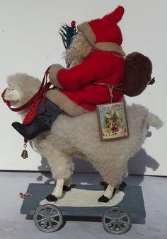 Handmade Little Santa Claus & Lamb Pull Toy By Kim Sweet~Kim's Klaus~Ebay Seller~kim-s-klaus-s