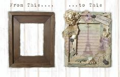 Vintage Altered Frame & Print -- Before & After