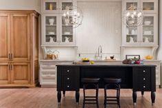 Contrast--white kitchen/black island
