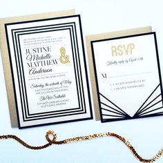 Art Deco Wedding Invitations  we ❤ this!  moncheribridals.com  #weddinginvitations