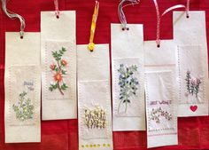 My lovely, embroidered bookmarks!