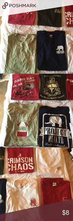 CLOSET CLEAROUT Bama Bundle These t shirts are all from my/my brother's time as students at The University of Alabama. All are decent quality, some have small defects. PICS 1/2---1) M red: Ttown Toyota from football game 2) S dark green: AED premed honors society 3) M light green project health 4) M navy project health PICS 3/4---1) M red: Crimson Chaos (smudge on A)  2) M white w pocket--future alumni (paint stains on front) 3) M white UA early college 4) M red: Alabama action Tops Tees…