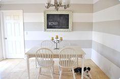 This Little House of Mine: Striped Wall Inspiration Grey Striped Wallpaper, Grey Striped Walls, White Walls, Grey Stripes, Vintage Chalkboard, Diy Chalkboard, Baby Boys, Surfboard, Indoor Outdoor