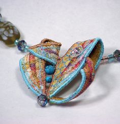 Copper and Blue Textile Jewellery Necklace by WaiYuk (Wai-Yuk Kennedy Textile Art)