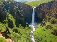 Good morning beautiful Africa from the majestic 192 metre high waterfall of Maletsunyane falls in Semonkong district in Maseru the capital city of Lesotho. Famous Waterfalls, Beautiful Waterfalls, Places To See, Places To Travel, Vacation Places, Vacations, Nature Sauvage, Largest Waterfall, Les Cascades