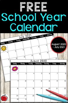 Free 2020-2021 Academic Calendar. A school calendar printable perfect for back to school planning. Helps you stay organized and plan for upcoming classroom and school events. Large spaces for each monthly calendar allow for many different classroom uses. See the blog post on all the ways I have used the printable school calendars. Free printable 2020-2021 school year calendar that can be used by both teachers and students. Print it in color or black and white. #schoolcalendar #freecalendar Behavior Calendar, Homework Calendar, Academic Calendar, Calendar Organization, Classroom Organization, Free Calendar, Calendar Printable, Free Printable, Teacher Resources