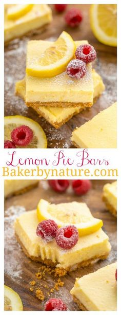 These Lemon Pie Bars are made with lemon juice, lemon zest, and lemon extract, so you know they're loaded with lemon flavor! Summer Dessert Recipes, Lemon Desserts, Lemon Recipes, Bar Recipes, Lemon Pie Bars, Lemon Cheesecake Bars, Lemon Raspberry Bars, Raspberry Recipes, Recipes
