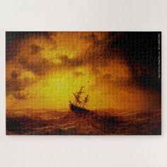 Stormy Sea Nature Art Vintage Painting Family Kids Jigsaw Puzzle #jigsaw #puzzle #jigsawpuzzle Custom Jigsaw Puzzles, Jigsaw Puzzles For Kids, Custom Gift Boxes, Custom Gifts, Stormy Sea, Family Kids, Lovers Art, Vintage Art, Puzzle Art