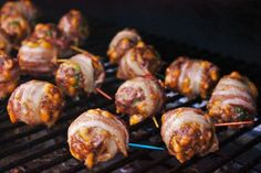 The cheesy, slightly spicy jalapeno bacon meatballs are lovingly grilled and sauced to ensure every bite has the perfect ratio of meat to seasoning to sauce Jalapeno Bacon, Stuffed Jalapenos With Bacon, Meatball Recipes, Beef Recipes, Snack Recipes, Snacks, Recipies, Traeger Recipes, Grilling Recipes
