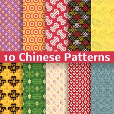 Different Chinese vector seamless patterns (tiling). vector art illustration