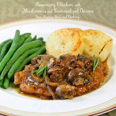 Rosemary Chicken with Mushrooms and Caramelized Onions - Recipes Food and Cooking
