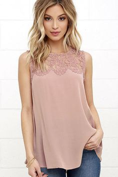 Place in the Sun Mauve Lace Top