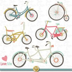 "Hand Drawn Vintage Bike Clipart ""Bike CLIP ART"" pack,Vintage Bike,Spring, Love Bike, Stationary, scr Sites Like Etsy, Craft Sites, Valentine Theme, Newsletter Design, Wedding Scrapbook, Bike Art, Logo Sticker, Web Banner, Collage Sheet"
