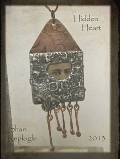 Window to a Hidden Heart Vintage Tin Type Photo  Metal Work Assemblage Necklace
