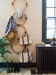 The jaunty Lostine hat rack gets a lot of use from the family of six.