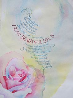 Calligraphy and watercolor piece for a new baby.