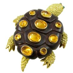SEAMAN SCHEPPS Citrine, Emerald, Rosewood and Gold Turtle Brooch at 1stdibs