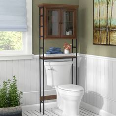 online shopping for Foxborough W x H x 8 D Solid Wood Over Toilet Storage Three Posts from top store. See new offer for Foxborough W x H x 8 D Solid Wood Over Toilet Storage Three Posts Over Toilet Storage, Toilet Shelves, Bathroom Shelves Over Toilet, Bathroom Cabinets, Small Bathroom, Bathroom Ideas, Glass Shelves, Bathroom Mirrors, Modern Bathroom