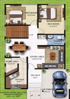 Popular Homely Design 13 Duplex House Plans For Site East Facing House Map Design Ground Floor Photo – House Floor Plan Ideas 40x60 House Plans, Duplex Floor Plans, House Floor Plans, 2bhk House Plan, Model House Plan, Dream House Plans, Dream Houses, Luxury Houses, Home Map Design