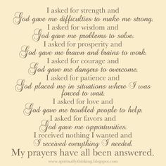 prayers for strength and comfort | and Spiritually Speaking: My Prayers Have All Been Answered