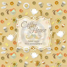 Modern flat vector coffee shop emblem on background of coffee, tea and sweets icons. Blurred sticker with space for logo on food and drinks pattern. Business Identity design. Cafe menu cover or promotional brochure.