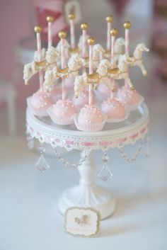 Cake Pops from a Pink Carousel Birthday Party via Kara's Party Ideas…