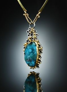Druzy Chrysocolla Centerpiece. Fabricated Sterling Silver and 18k. www.amybuettner.com https://www.facebook.com/pages/Metalsmiths-Amy-Buettner-Tucker-Glasow/101876779907812?ref=hl https://www.etsy.com/people/amybuettner http://instagram.com/amybuettnertuckerglasow