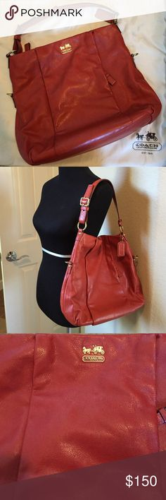Coach Tote Purse This great big Coach Purse is able to fit whatever you desire.  Color is a orange/red, like a blood orange.  Only used a couple of times and cover bag comes with. Also included is the extended strap to make it a cross body. Coach Bags Totes