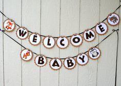 Woodland Creatures Banner- Welcome Baby- Baby Shower- Woodland Critter-Photo… Baby Shower Brunch, Baby Shower Parties, Baby Shower Themes, Baby Boy Shower, Shower Ideas, Baby Banners, Shower Banners, Welcome Baby Showers, Woodland Baby