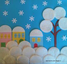 maestra Nella: paesaggi innevati con i dischetti di cotone