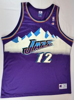 3a66ead30 John Stockton Champion Jersey NBA Utah Jazz Alternate Mountain RARE Malone  sz 52 John Stockton