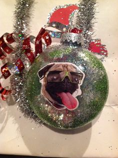 Pug Dog Funny Decoupaged Christmas Glitter Ornament Great Gift by HopesSassyGlass on Etsy Christmas Glitter, Glitter Ornaments, Dog Ornaments, Christmas Ideas, Christmas Bulbs, Funny Dogs, Pugs, Great Gifts, Holiday Decor
