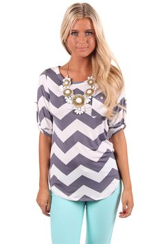 Lime Lush Boutique - Grey Chevron Print Slinky Jersey 3/4 Sleeve Top, $39.99 (http://www.limelush.com/grey-chevron-print-slinky-jersey-3-4-sleeve-top/)
