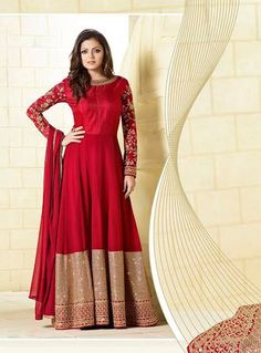 Buy Drashti Dhami Red Georgette Long Anarkali Suit 82808 online at lowest price from vast collection at m.indianclothstore.c.