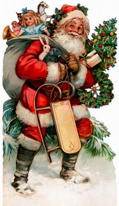 Christmas Countdown: Vintage Santa Ephemera | luckyporcupine  Love that he has a rabbit and an elephant in his arms1