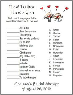"24 Personalized ""How to say I LOVE YOU"" Bridal Shower Game. $7.00, via Etsy."